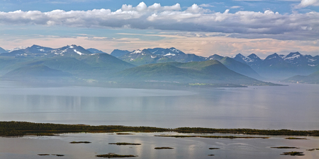 Panoramic mountain view and fjord in Molde, Norway