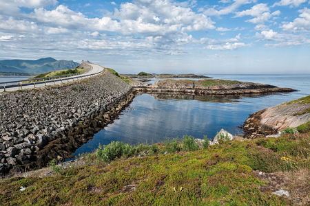 Panoramic view of the Atlantic road and the ocean in Hulvagen, Norway
