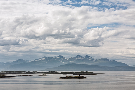 Panoramic mountain view with some islands in the fjord in Molde, Norway
