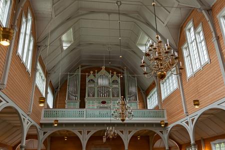 Pipe organ inside the Buksnes church in Gravdal city in Lofoten islands, Norway