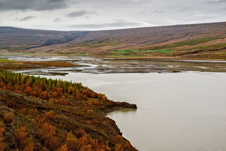 Panoramic view of the Lagarfljot river in eastside of Iceland