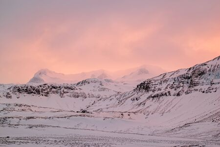 Pink sunset in the mountain in Snaefellsnes peninsula, Iceland Stock Photo