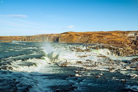 Urridafoss waterfall in southwest Iceland in a sunny day