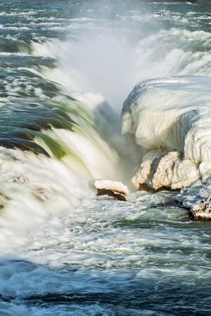Closeup of Urridafoss waterfall in southwest Iceland in a sunny day
