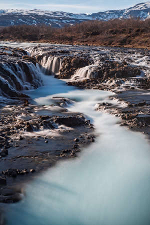 Bruarfoss waterfall in a sunny day, Iceland Stock Photo