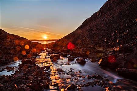 Sunset in the mountains near Hvanneyri, Iceland