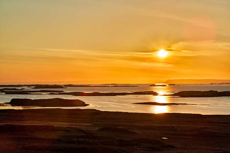 Many islands at sunset near Stykkisholmur in west Iceland Stock Photo