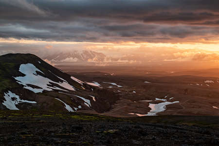 Sunset near Kerlingarfjoll geothermal area in a summer day, Iceland