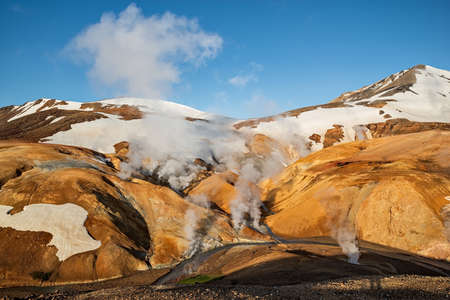 Sunrise in Kerlingarfjoll geothermal area in a sunny summer day, Iceland