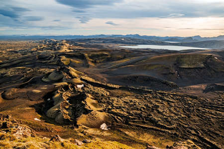 Thorsmork's mountains seen from the top of the mountain at sunset, Iceland Stock Photo