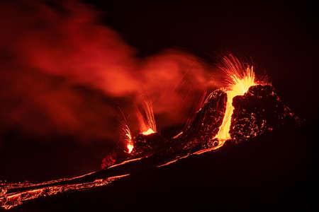 Fagradalsfjall volcanic eruption at night in Reykjanes peninsula around 40 kilometers from Reykjavik, Iceland
