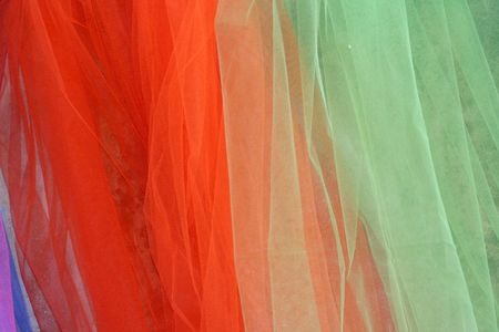 Rainbow coloured veils of toulle