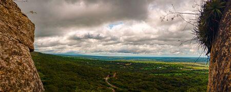 Panoramic forest landscape with chochis clouds Santa Cruz Bolivia