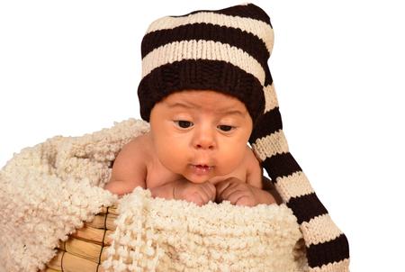 newborn close up in a basket. Stock Photo