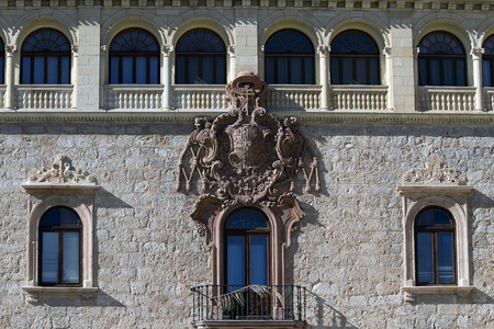 balcony and windows in the archiepiscopal palace of alcala de henares