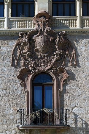 balcony with  shield on the facade of the archiepiscopal palace in alcala de henares