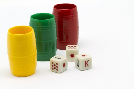 dice cups and dice for board games Stock Photo - 13717005