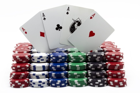 tokens: poker tokens with the four aces Stock Photo