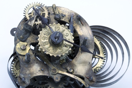 old mechanism of a wall clock photo