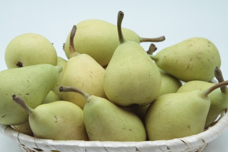 williams: closeup of a basket of pears