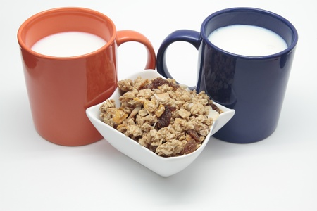 cereals and breakfast mugs with milk Stock Photo - 17311343