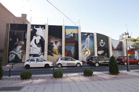 velazquez: TORREJON DE ARDOZ, MADRID, SPAIN - SEPTEMBER  30: replicas of paintings by famous artists performed on a wall in Torrejon de Ardoz. Picture taken on September 30, 2010 in Torrejon de Ardoz, Madrid, Spain
