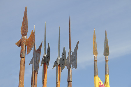 celts: foreground of some medieval spears with the sky as background