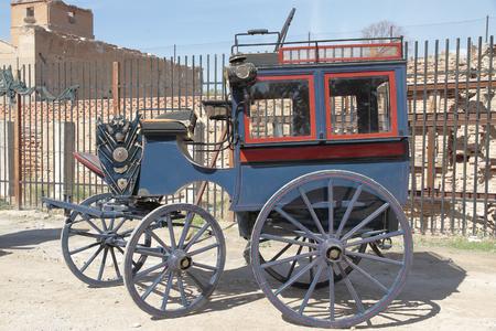 exposition: antique horse carriage in a outdoor exposition Stock Photo
