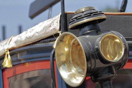 forefront: forefront of an old carriage lantern Stock Photo