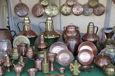houseware: several houseware handmade in copper Stock Photo
