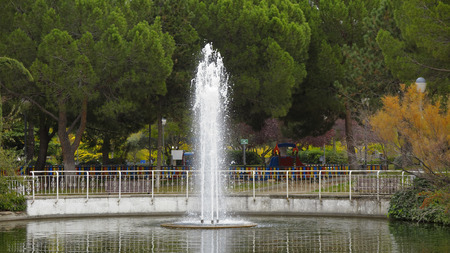 recreational area: fountain in the pond of a recreational area in the city of Coslada in the province of Madrid-Spain