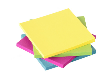 yellow notepad: colored notes isolated on white background