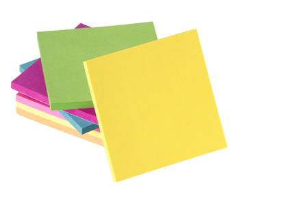 notepaper: colored notes isolated on white background