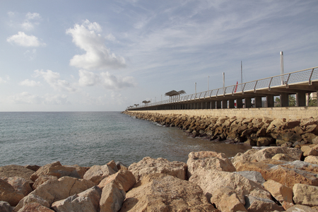 dikes: view of the harbor dike of Alicante, Spain