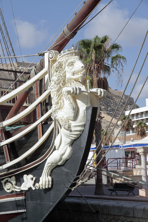 ancient lion: foreground of the figurehead lion shaped in an ancient warship