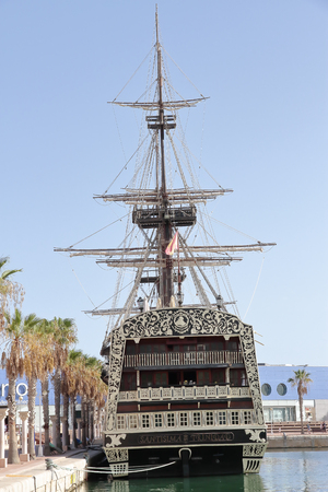 ship bow: ALICANTE, SPAIN - AUGUST 31:  replica of spanish warship santisima trinidad anchored in alicante harbor, actually used as restaurant. Picture taken on August 31, 2016 in Alicante, spain.