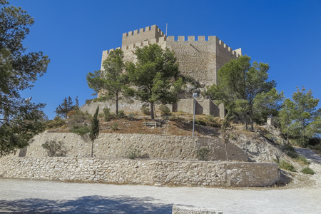 view of Petrer castle inthe city of Petrer in the province of alicante, spain