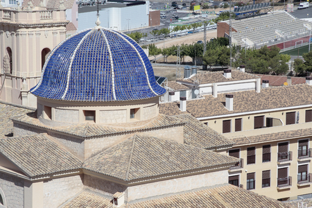 foreground of san bartolome church dome in the city of Petrer province of alicante, spain
