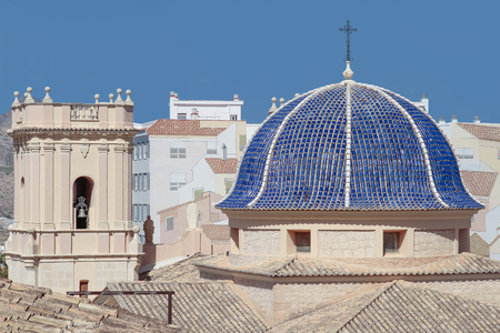 bartolome: foreground of dome and bell tower of san bartolome church in the city of Petrer province of alicante, spain