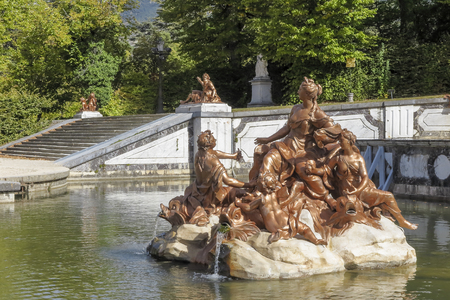 horizontal view of fountain dedicated to anfitrite in royal palace gardens of la granja de san ildefonso in the province of segovia, spain