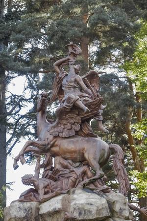 sculpture that represents the fame riding on pegasus Standard-Bild