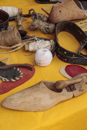 stand with utensils for hand made manufacture of shoes Banco de Imagens