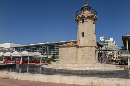 horizontal view of the lighthouse in the port of castellon de la plana in the province of castellon, valencian community, spain on a summer day
