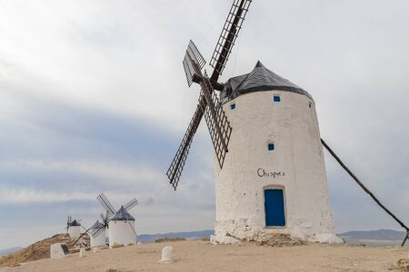 horizontal view of old windmills on Calderico hill of the spanish municipality of Consuegra. these windmills are a touristic landmark in the province of toledo, spain
