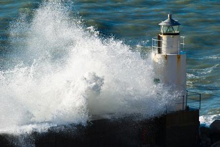 mediterraneo: waves during a seastorm in Camogli, Italy