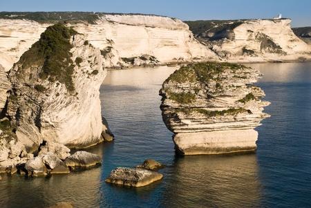 mediterraneo: white cliff near Bonifacio, Corsica, france