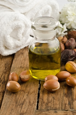 Argan oil wwith fruits in a natural atmosphere