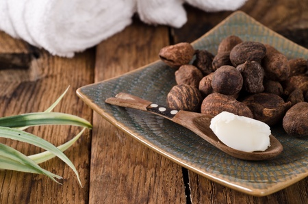shea butter: shea butter and shea nuts. Ingredients of many cosmetics