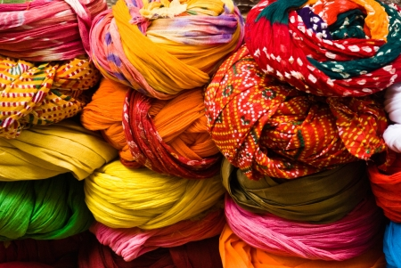 a composition of multicolored turbans sold in Jaisalmer, India
