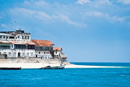 View of Stone Town, Zanzibar from the sea Stock Photo